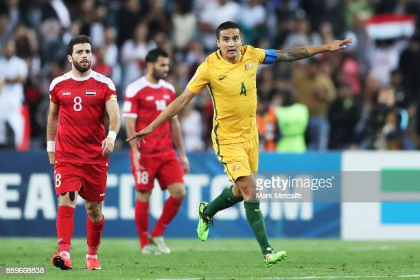 Tim Cahill of Australia celebrates scoring a goal during the 2018 FIFA World Cup Asian Playoff match between the Australian Socceroos and Syria at...