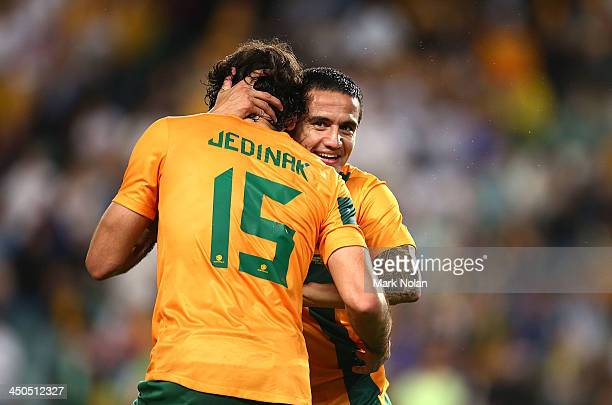 Tim Cahill of Australia celebrates scoring a goal during the international friendly match between the Australian Socceroos and Costa Rica at Allianz...
