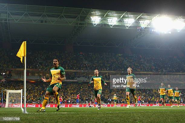 Tim Cahill of Australia celebrates scoring during the 2010 FIFA World Cup South Africa Group D match between Australia and Serbia at Mbombela Stadium...