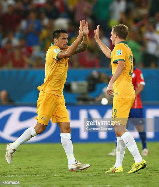 Tim Cahill of Australia celebrates scoring his team's first goal with Alex Wilkinson during the 2014 FIFA World Cup Brazil Group B match between...