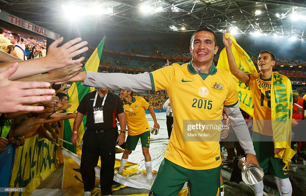 Tim Cahill of Australia celebrates with fans after the 2015 Asian Cup final match between Korea Republic and the Australian Socceroos at ANZ Stadium on January 31, 2015 in Sydney, Australia.