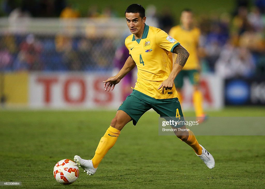 Tim Cahill of Australia controls the ball during the Asian Cup Semi Final match between the Australian Socceroos and the United Arab Emirates at Hunter Stadium on January 27, 2015 in Newcastle, Australia.