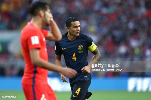 Tim Cahill of Australia in action during the FIFA Confederations Cup Russia 2017 Group B match between Chile and Australia at Spartak Stadium on June...