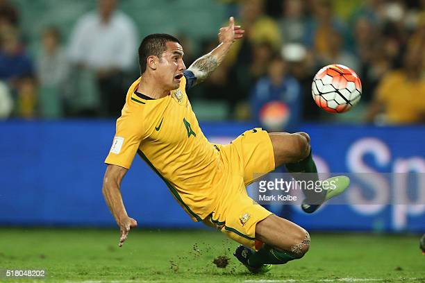 Tim Cahill of Australia jumps to shoot at goal during the 2018 FIFA World Cup Qualification match between the Australian Socceroos and Jordan at...