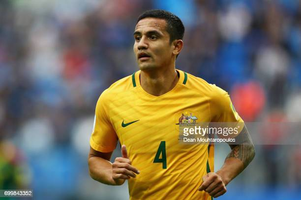 Tim Cahill of Australia looks on during the FIFA Confederations Cup Russia 2017 Group B match between Cameroon and Australia at Saint Petersburg...