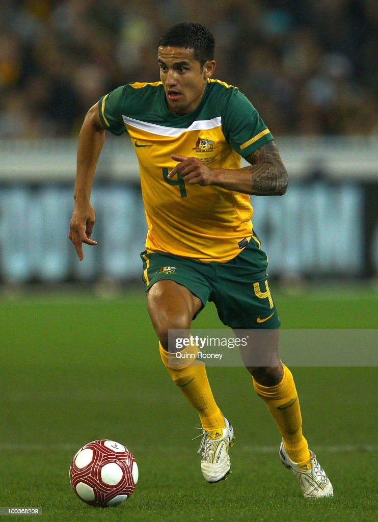 Tim Cahill of Australia passes the ball during the 2010 FIFA World Cup Pre-Tournament match between the Australian Socceroos and the New Zealand All Whites at Melbourne Cricket Ground on May 24, 2010 in Melbourne, Australia.