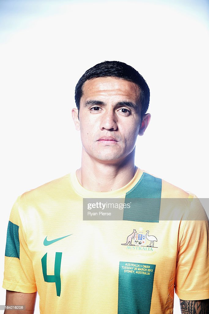 <a gi-track='captionPersonalityLinkClicked' href=/galleries/search?phrase=Tim+Cahill&family=editorial&specificpeople=209085 ng-click='$event.stopPropagation()'>Tim Cahill</a> of Australia poses during a Socceroos Portrait Session on March 21, 2013 in Sydney, Australia.