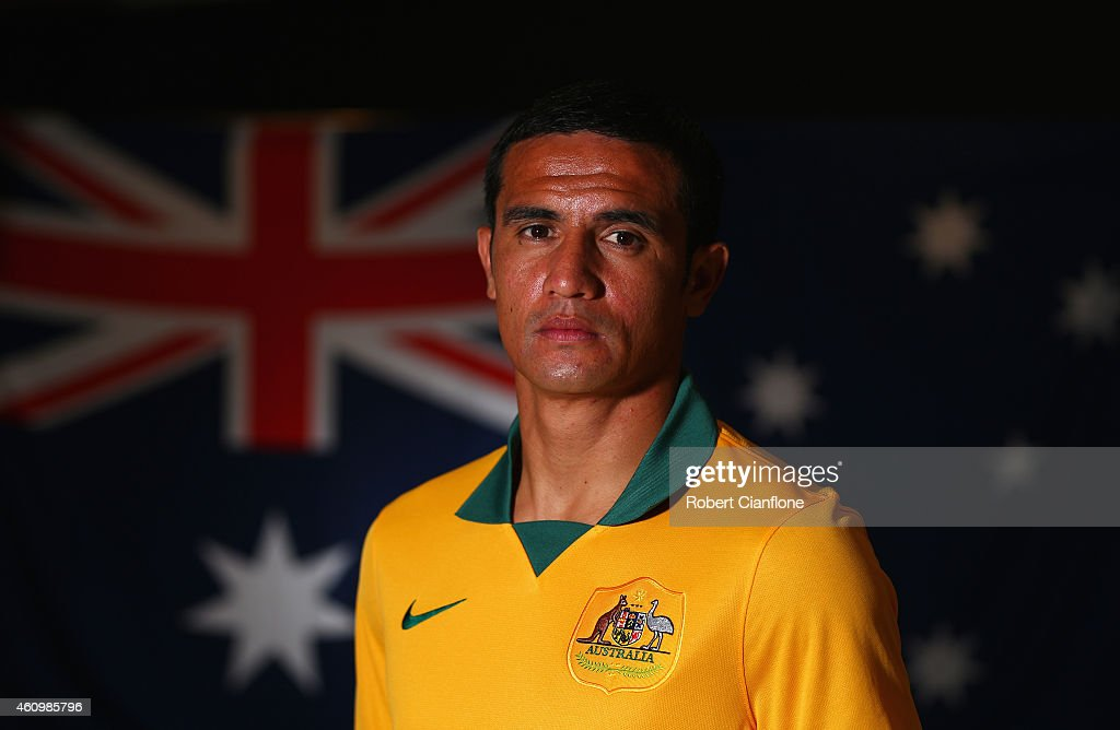 <a gi-track='captionPersonalityLinkClicked' href=/galleries/search?phrase=Tim+Cahill+-+Voetballer&family=editorial&specificpeople=209085 ng-click='$event.stopPropagation()'>Tim Cahill</a> of Australia poses during an Australian Socceroos headshot session at the InterContinental Hotel, on January 3, 2015 in Melbourne, Australia.
