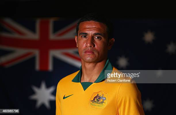 Tim Cahill of Australia poses during an Australian Socceroos headshot session at the InterContinental Hotel on January 3 2015 in Melbourne Australia