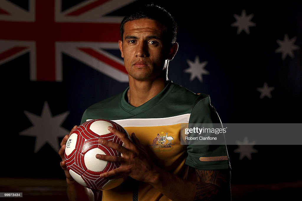 Tim Cahill of Australia poses for a portrait during an Australian Socceroos portrait session at Park Hyatt Hotel on May 19, 2010 in Melbourne, Australia.
