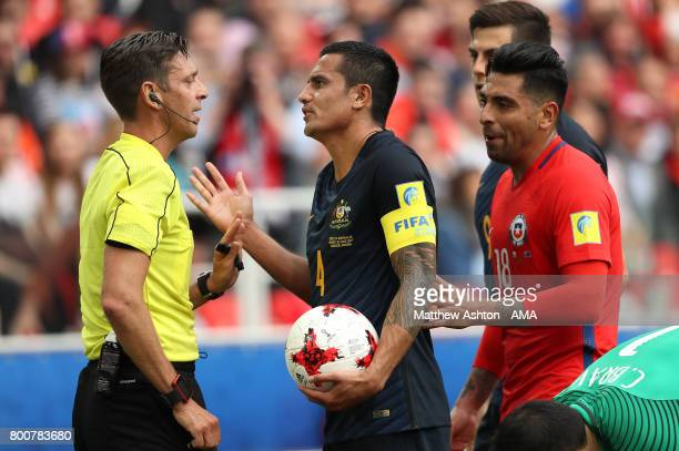 Tim Cahill of Australia protests to Referee Gianluca Rocchi during the FIFA Confederations Cup Russia 2017 Group B match between Chile and Australia...