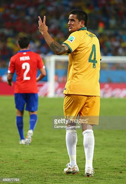 Tim Cahill of Australia reacts after a disallowed goal during the 2014 FIFA World Cup Brazil Group B match between Chile and Australia at Arena...