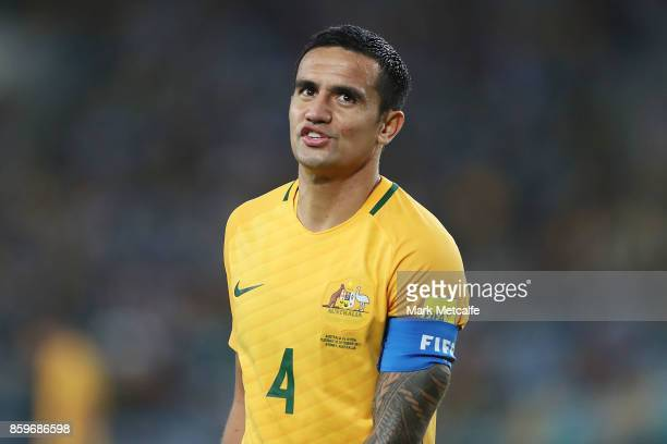 Tim Cahill of Australia reacts after a missed chance during the 2018 FIFA World Cup Asian Playoff match between the Australian Socceroos and Syria at...