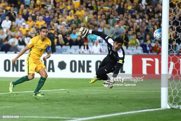 Tim Cahill of Australia scores a goal during the 2018 FIFA World Cup Asian Playoff match between the Australian Socceroos and Syria at ANZ Stadium on...