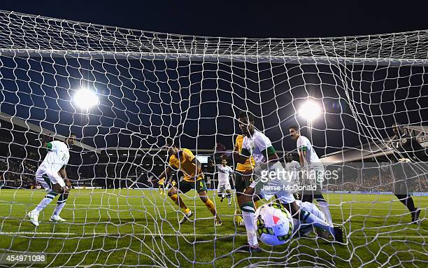 Tim Cahill of Australia scores his goal during the International Friendly match between Saudi Arabia and Australia at Craven Cottage on September 8...