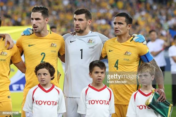 Tim Cahill of Australia sings the national anthem during the 2018 FIFA World Cup Asian Playoff match between the Australian Socceroos and Syria at...