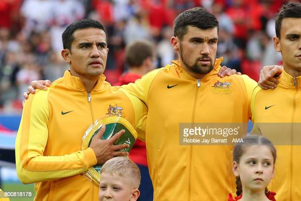 Tim Cahill of Australia sings the national anthem during the FIFA Confederations Cup Russia 2017 Group B match between Chile and Australia at Spartak...