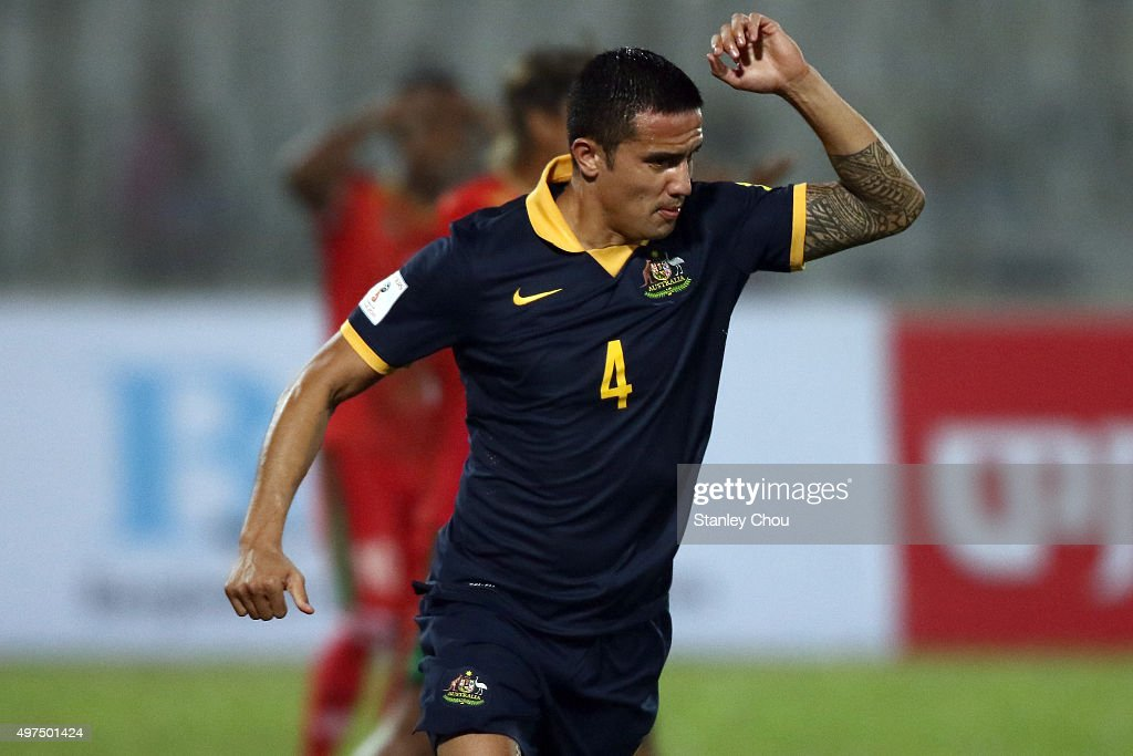 Tim Cahill of Australia Socceroos celebrates after scoring the 1st goal against Bangladesh during the 2018 FIFA World Cup Qualification match between Bangladesh and the Australia Socceroos at Bangabandhu National Stadium on November 17, 2015 in Dhaka, Bangladesh.