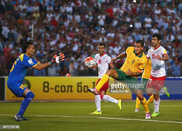Tim Cahill of Australia takes a shot at goal during the 2018 FIFA World Cup Qualifier match between the Australian Socceroos and Tajikistan at...