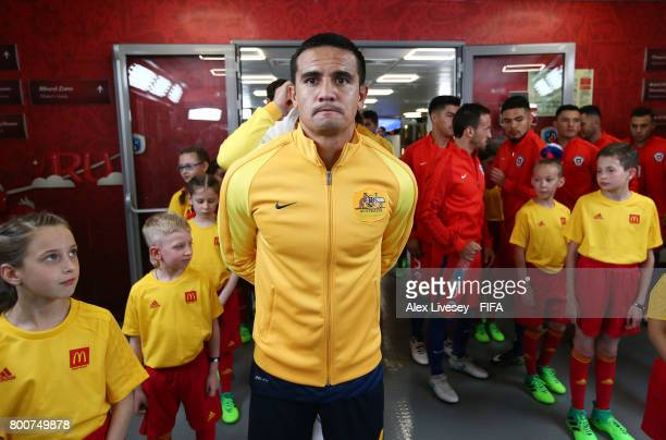 Tim Cahill of Australia waits in the tunnel prior to his 100th cap during the FIFA Confederations Cup Russia 2017 Group B match between Chile and...