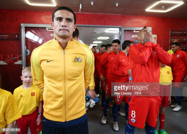 Tim Cahill of Australia waits in the tunnel to lead his team out prior to the FIFA Confederations Cup Russia 2017 Group B match between Chile and...