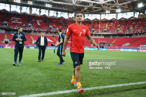 Tim Cahill of Australia walks off the pitch after the FIFA Confederations Cup Russia 2017 Group B match between Chile and Australia at Spartak...