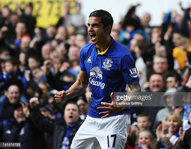 Tim Cahill of Everton celebrates the equalising goal during the FA Cup Sixth Round match sponsored by Budweiser between Everton and Sunderland at...