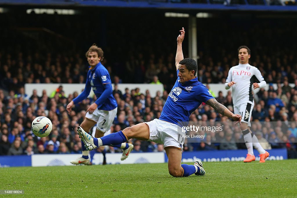<a gi-track='captionPersonalityLinkClicked' href=/galleries/search?phrase=Tim+Cahill+-+Soccer+Player&family=editorial&specificpeople=209085 ng-click='$event.stopPropagation()'>Tim Cahill</a> of Everton scores the fourth goal during the Barclays Premier League match between Everton and Fulham at Goodison Park on April 28, 2012 in Liverpool, England.