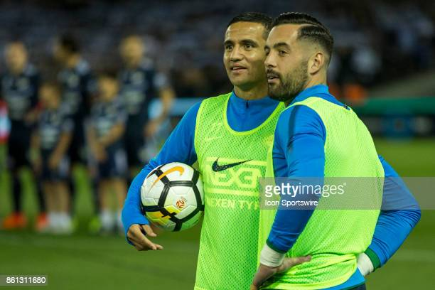 Tim Cahill of Melbourne City and Dean Bouzanis of Melbourne City talk and look on at the fans during Round 2 of the Hyundai ALeague Series between...