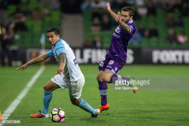 Tim Cahill of Melbourne City and Josh Risdon of Perth Glory contest the ball during the Elimination Round of the Hyundai ALeague Finals Series...