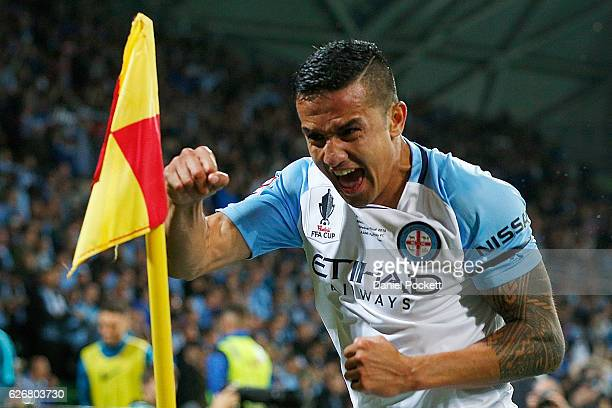 Tim Cahill of Melbourne City celebrates after kicking a goal during the FFA Cup Final match between Melbourne City FC and Sydney FC at AAMI Park on...