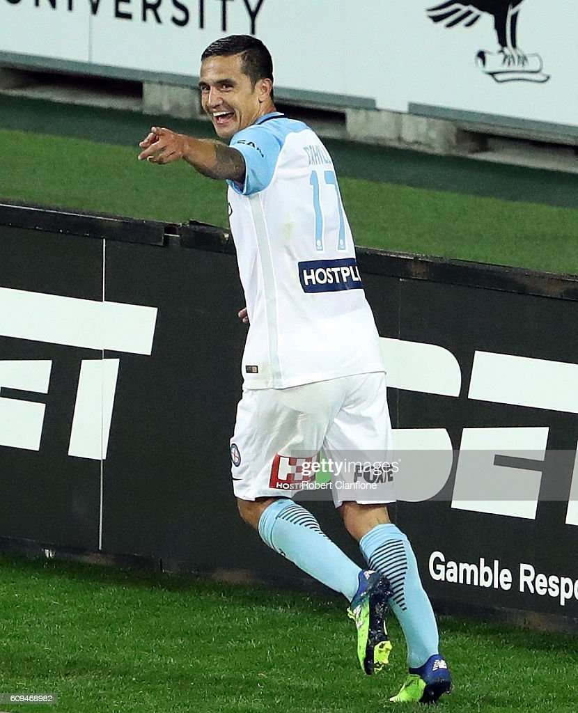 Tim Cahill of Melbourne City celebrates after scoring a goal during the FFA Cup Quarter Final between Melbourne City and Western Sydney at AAMI Park on September 21, 2016 in Melbourne, Australia.