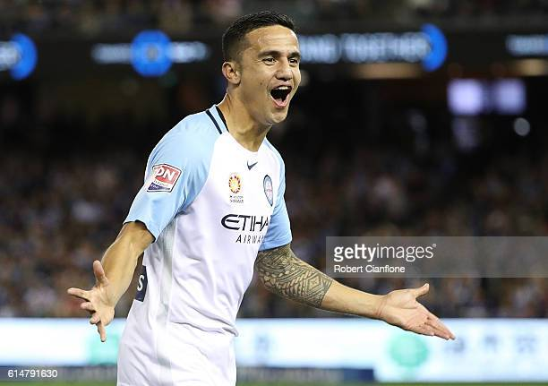 Tim Cahill of Melbourne City celebrates after scoring a goal during the round two ALeague match between Melbourne Victory and Melbourne City FC at...