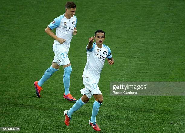 Tim Cahill of Melbourne City celebrates after scoring a goal during the round 16 ALeague match between Melbourne City FC and the Central Coast...