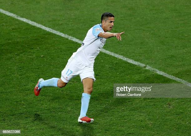 Tim Cahill of Melbourne City celebrates after scoring a goal during the round 26 ALeague match between Melbourne City FC and Adelaide United at AAMI...