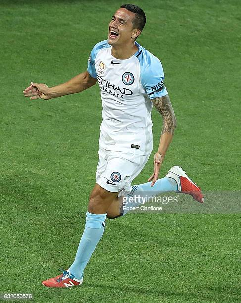 Tim Cahill of Melbourne City celebrates after scoring his second goal during the round 16 ALeague match between Melbourne City FC and the Central...