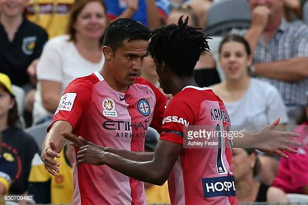 Tim Cahill of Melbourne City celebrates his goal with his team during the round 13 ALeague match between the Central Coast Mariners and Melbourne...