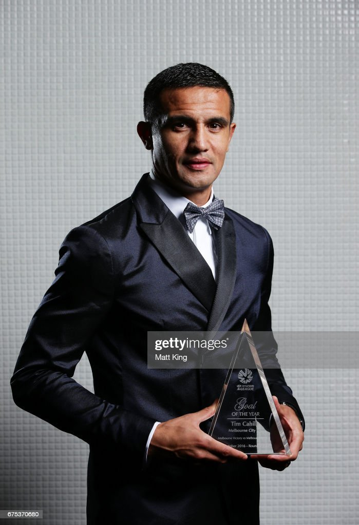 Tim Cahill of Melbourne City FC poses with the A-League Goal of the Year award during the FFA Dolan Warren Awards at The Star on May 1, 2017 in Sydney, Australia.
