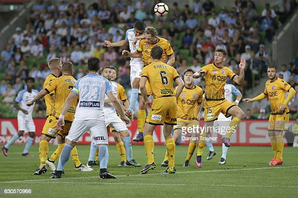 Tim Cahill of Melbourne City heads the ball during the round 12 ALeague match between Melbourne City and Perth Glory at AAMI Park on December 27 2016...