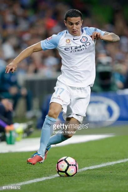 Tim Cahill of Melbourne City keeps the ball in play during the ALeague Elimination Final match between Melbourne City FC and the Perth Glory at AAMI...