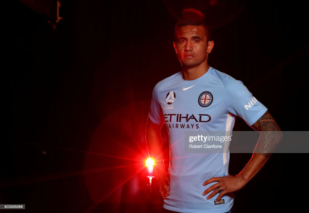Tim Cahill of Melbourne City poses during the Melbourne City 2017/18 A-League Kit Launch on July 27, 2017 in Melbourne, Australia.
