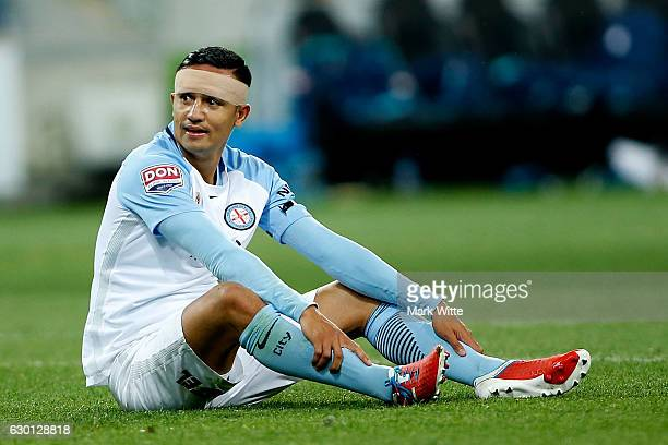 Tim Cahill of Melbourne City sits down after missing a header during the round 11 ALeague match between Melbourne City FC and Melbourne Victory at...