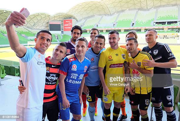 Tim Cahill of Melbourne City takes a selfie during the 206/17 ALeague media day at AAMI Park on September 28 2016 in Melbourne Australia