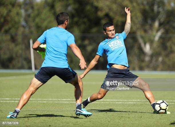 Tim Cahill of the City controls the ball during a Melbourne City ALeague training session at City Football Academy on November 23 2017 in Melbourne...