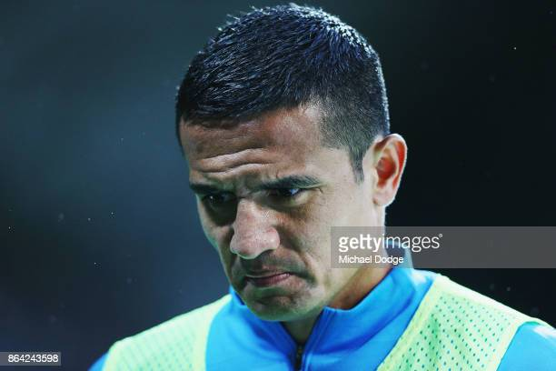 Tim Cahill of the City focuses whilst on the sidelines during the round three ALeague match between Melbourne City and the Wellington Phoenix at AAMI...