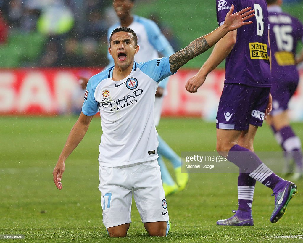 Tim Cahill of the City reacts after a contest during the round three A-League match between Melbourne City FC and Perth Glory at AAMI Park on October 21, 2016 in Melbourne, Australia.