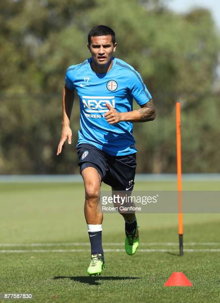 Tim Cahill of the City runs during a Melbourne City ALeague training session at City Football Academy on November 23 2017 in Melbourne Australia