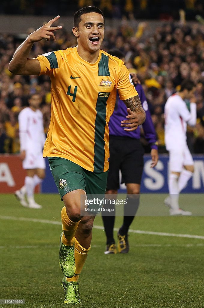 <a gi-track='captionPersonalityLinkClicked' href=/galleries/search?phrase=Tim+Cahill+-+Soccer+Player&family=editorial&specificpeople=209085 ng-click='$event.stopPropagation()'>Tim Cahill</a> of the Socceroos celebrates a goal during the FIFA World Cup Qualifier match between the Australian Socceroos and Jordan at Etihad Stadium on June 11, 2013 in Melbourne, Australia.
