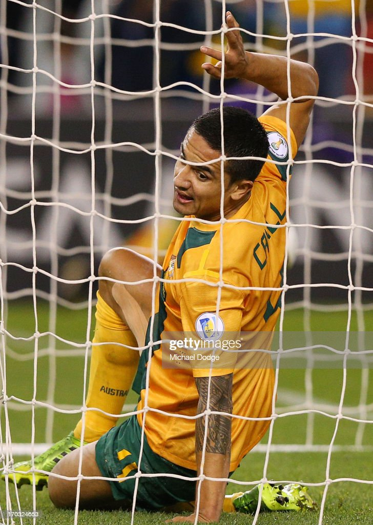 Tim Cahill of the Socceroos celebrates a goal during the FIFA World Cup Qualifier match between the Australian Socceroos and Jordan at Etihad Stadium on June 11, 2013 in Melbourne, Australia.