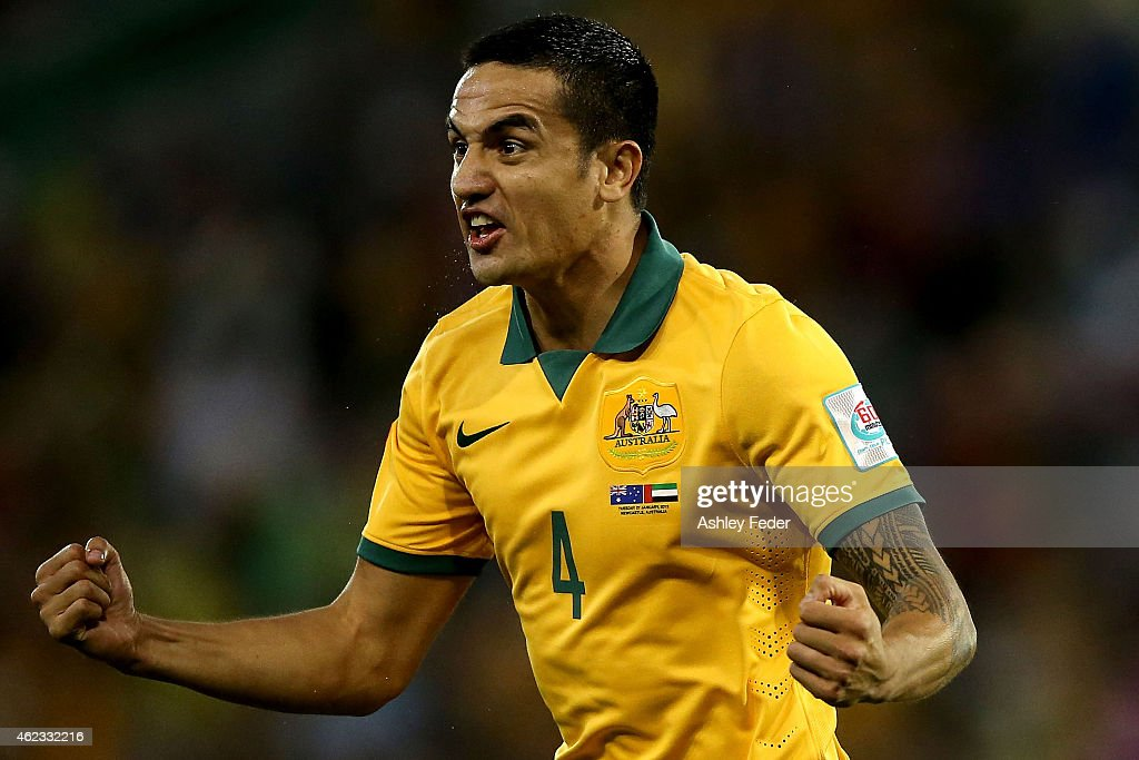 Tim Cahill of the Socceroos celebrates a goal with team mates during the Asian Cup Semi Final match between the Australian Socceroos and the United Arab Emirates at Hunter Stadium on January 27, 2015 in Newcastle, Australia.